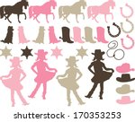 pink cowgirl silhouettes