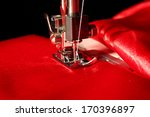 Sewing Machine With Red Cloth...
