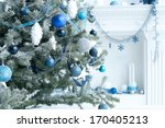 Christmas Tree With Blue And...