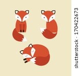 cute fox collection. vector illustration - stock vector