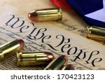 ammunition and american flag on ... | Shutterstock . vector #170423123