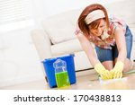 cleaning  scrubbing the floors... | Shutterstock . vector #170438813