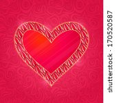 red heart with pink petal frame.... | Shutterstock .eps vector #170520587
