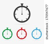 Set of clean vector color stopwatch symbol icons