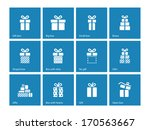 gift box icons on blue...