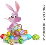 Pink Easter bunny rabbit with Easter eggs basket full of chocolate decorated Easter eggs
