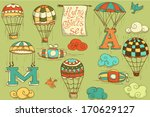 flying objects set with hot air ... | Shutterstock .eps vector #170629127