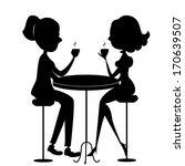 two women drinking coffee... | Shutterstock .eps vector #170639507