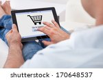 close up of man shopping online ... | Shutterstock . vector #170648537