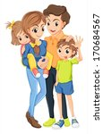 illustration of a family on a... | Shutterstock .eps vector #170684567