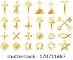 Christian religious symbols cast in gold: A collection of vector icons and symbols associated with the Christian faith isolated on white background