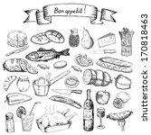 bon appetite. set of vector... | Shutterstock .eps vector #170818463