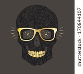 vector funny  candy skull with... | Shutterstock .eps vector #170844107