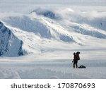 Climber In A Snow Storm  Alaska