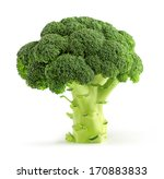 Fresh Green Broccoli Isolated...