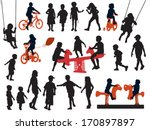 a set of silhouettes  children... | Shutterstock .eps vector #170897897