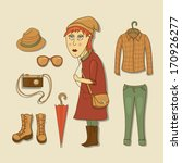 hipster girl with accessories... | Shutterstock .eps vector #170926277