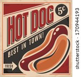retro hot dog vector poster... | Shutterstock .eps vector #170944193