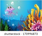 illustration of an octopus and... | Shutterstock .eps vector #170996873