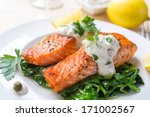 grilled salmon steak  with... | Shutterstock . vector #171002567