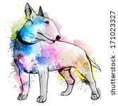 bull terrier grunge illustration | Shutterstock .eps vector #171023327