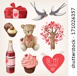set of romantic items for... | Shutterstock .eps vector #171026357