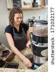 beautiful mid adult barista... | Shutterstock . vector #171032177