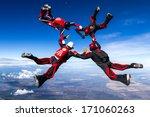 skydivers in relative work. | Shutterstock . vector #171060263