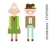 cute stylish grandma and grandpa | Shutterstock .eps vector #171076403