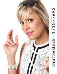 young caucasian blonde woman in ... | Shutterstock . vector #171077693