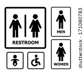 restroom sign set | Shutterstock .eps vector #171080783