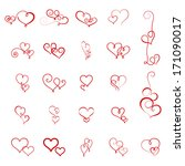 vector set of decorative hearts | Shutterstock .eps vector #171090017