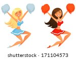 attractive,beautiful,blonde,brunette,cartoon,character,cheerful,cheerleader,cheerleading,costume,cute,female,girl,happy,illustration