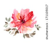 red flower. watercolor floral... | Shutterstock . vector #171105017