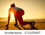 fitness woman ready for running ... | Shutterstock . vector #171105407