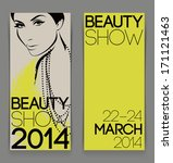 Template with attractive female for beauty show flyer