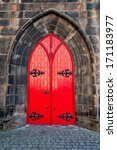 Red Medieval Wooden Door