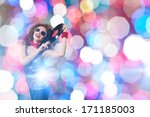 young pretty girl dj at disco... | Shutterstock . vector #171185003