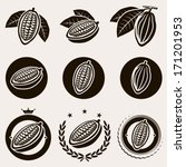Cacao Beans Label And Icons Se...