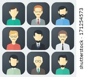 Colorful Male Faces App Icons...