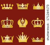 vector set of 9 gold crown icons | Shutterstock .eps vector #171264173