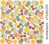 orange  melon  apple  cherry... | Shutterstock .eps vector #171331193