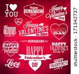 set of typographic valentines... | Shutterstock .eps vector #171342737