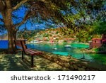 bench under a tree on a sunny... | Shutterstock . vector #171490217