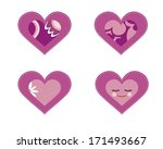 set of 4 purple vector hearts | Shutterstock .eps vector #171493667