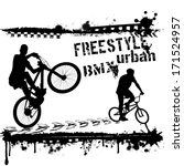 Bmx urban riders - Grunge vector artwork for boy sportswear on white, vector illustration