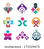 People are connecting through live colorful social interaction media logo icon set