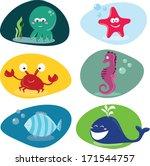 cute sea creatures | Shutterstock .eps vector #171544757