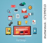 flat design modern icons set.... | Shutterstock .eps vector #171590513