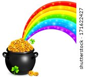 pot of gold with magic rainbow | Shutterstock .eps vector #171622427
